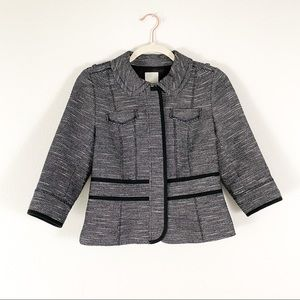 Halogen Tweed Gray Black Petite Blazer Jacket